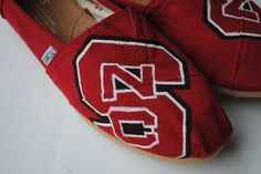 NC State Hand Painted TOMS