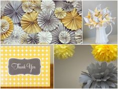{HGTV} August's Color of the Month will Brighten Your Day I like the idea of different shades of yellow and gray with white accents throughout the home (wall colors, home decor, etc…) Home Wall Colour, Wall Colors, Colours, Grad Parties, Birthday Parties, August Colors, Paper Medallions, Host A Party, Brighten Your Day