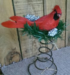 Rustic Christmas Bed Spring Cardinal Decor Holiday Decor by FunkyJunktique on Etsy