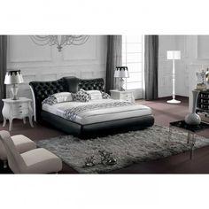Vig Furniture Modern Queen Black Tufted Leatherette Bed