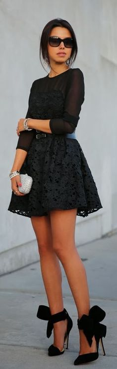 Black Lace Dress with Love Heels.... Those heels <3