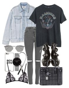 """Untitled #1836"" by victoriamk ❤ liked on Polyvore featuring P & Lot, Topshop, Balenciaga, Yves Saint Laurent, Linda Farrow, H&M, bandtshirt and bandtee"