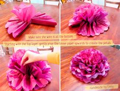 flat poof pom pom flower, tissue paper. Can be made with tissues or napkins.
