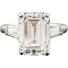 Preowned Important 7.29cts H-vvs1 Emerald-cut Diamond Platinum Ring (9 159 000 UAH) ❤ liked on Polyvore featuring jewelry, rings, multiple, platinum jewelry, platinum engagement rings, baguette engagement ring, preowned engagement rings and diamond jewelry