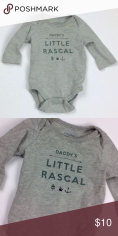 "Baby Gap Daddy's Little Rascal One Piece 0-3 mon Brand: Baby GAP Style : Long Sleeve Onsie ""Daddy's Little Rascal"" Color: Gray  Size:  0-3 Months  Condition: Like New baby gap One Pieces Bodysuits"