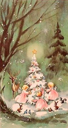 Unused w/Env Angels & Deer by the Tree-Vtg Christmas Card-Greeting Images Vintage, Vintage Christmas Images, Retro Christmas, Vintage Holiday, Christmas Pictures, Christmas Art, Old Time Christmas, Old Fashioned Christmas, Christmas Scenes