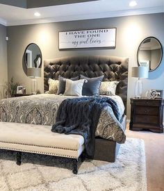 Like the rug under bed - New Bedroom İdeas Master Room, Master Bedroom Makeover, Master Bedroom Design, Dream Bedroom, Home Bedroom, Modern Bedroom, Bedroom Decor, Bedroom Ideas, Headboard Ideas