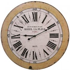 French Word Wall Clock - Hotel Le Fleur Aged antique effect wall clock that will bring French chic to your home! Hotel La Fleur Paris - 16 St Charles Place - 1825 This line is available in 3 other fabulous Fre Home Accessories, Hotel, Hotel La, Clock Wall Decor, Wall, Shabby Chic Clock, Traditional Clocks, Wall Clock, Vintage Clock