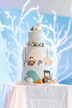 Arctic Cake from an Arctic Animal Birthday Party on Kara's Party Ideas | KarasPartyIdeas.com (22)