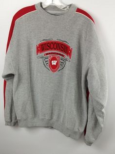 Details about Wisconsin Badgers Men s M Football Embroidered Logo Grey  Crewneck Sweatshirt M5 5e7930b65
