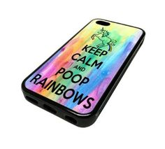 For Apple iPhone 5C 5 C Case Cover Skin Hipster Keep Calm Poop Rainbows Funny Unicorn Rainbow Love Teenager Quotes Teen DESIGN BLACK RUBBER SILICONE Teen Gift Vintage Hipster Fashion Design Art Print Cell Phone Accessories