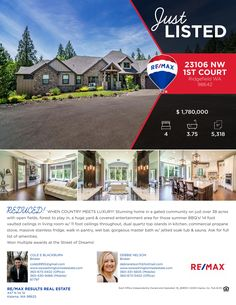 Price Improved! Real Estate for Sale: Now $1,780,000-4 Bd/3.75 Ba Stunning One Level Custom Daylight Ranch Style Home with Finished Basement on 38.47 Acres in Gated Community at: 23106 NW 1st Ave, Ridgefield, Clark County, WA! Listing Brokers: Cole Blackburn (360) 430-9466 & Debbie Nelson (360) 431-5605, RE/MAX Results Real Estate, Kalama, WA! #realestate #priceimproved #exceptionalhome #streetofdreamsawards #acreage #gatedcommunity #finishedbasement