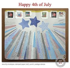 Wishing you a super sunny day and the perfect spot to see the fireworks! Envelope Art, Envelope Liners, Happy 4 Of July, Fourth Of July, Collage Design, Collage Ideas, Security Envelopes, Mail Art Envelopes, Junk Mail