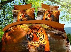 High Quality Tiger Walking in the Water 4 Pieces Polyester 3D Bedding Sets on sale, Buy Retail Price Cheap 3D Bedding Sets at Beddinginn.com