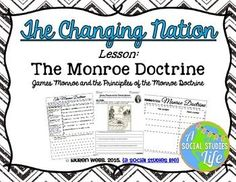 Monroe Doctrine - A Primary Source Analysis Lesson Social Studies Classroom, Teaching Social Studies, Teaching History, Help Teaching, Teaching Ideas, Monroe Doctrine, James Monroe, Andrew Jackson, Primary Sources