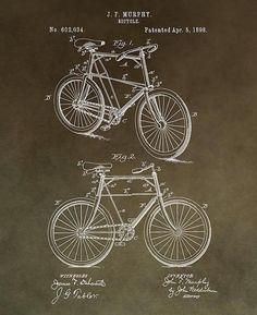 Vintage Bicycle Patent Brown