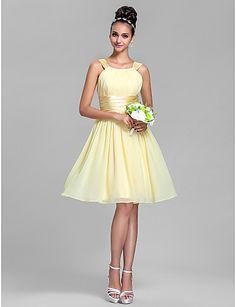 Haljina za djeverušu Retka Sa naramenicama Koljeno duljine - Žuti narcis / Navy Plava / Ruby / Šampanjac / Zrno grožđaŠifon / Rastezljivi iz 2016. – $69.99