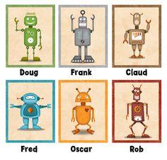 Robot Print 6 piece robot set 8 x 10 Children's by krankykrab