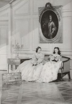 Costume test shot for part of the Twelve Oaks sequence - Scarlet & Melanie -- Gone With The Wind (1939)