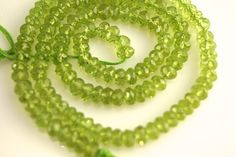 AAA Peridot rondelles 455mm full strand 16 inches by vlvp on Etsy, $35.99