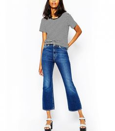 Monki Cropped Flare Jeans in Blue
