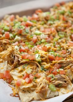 Shredded Chicken Nachos - My weakness. Nachos. Cheese dip. Sigh.