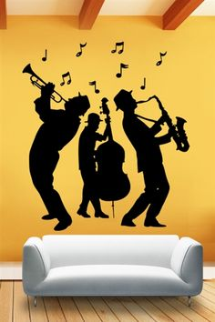 Wall Decals Jazz Band- Art Without Boundaries Music Artwork, Music Wall, Wall Mural Decals, Wall Sticker, Music Silhouette, Silhouette Pictures, Musik Illustration, Jazz Art, Graffiti