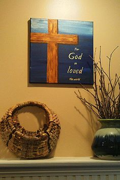 Items similar to Cross painting For God So Loved The World on 12 inch by 12 inch canvas with cobalt and metallic blue background on Etsy Cross Canvas Paintings, Easy Canvas Painting, Diy Painting, Painting & Drawing, Painting Quotes, Cooler Painting, Acrylic Paintings, Canvas Crafts, Diy Canvas