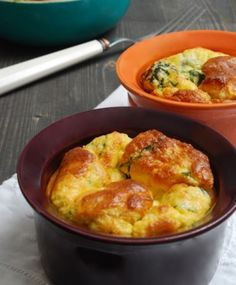 Spinach, ham and cheese souffle