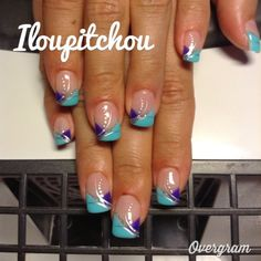 Image - ... - Déco d'ongle en gel - Skyrock.com French Tip Nail Designs, French Tip Nails, Nail Polish Designs, Fancy Nails, Cute Nails, Pretty Nails, Gel Nail Art, Nail Manicure, Acrylic Nails