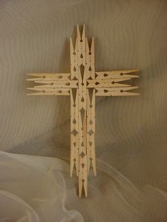 Tramp Folk Art Wooden Wall Cross 11 Inch Clothespins Naive Wood Handmade or use Mini Clothespins for Christmas Ornaments