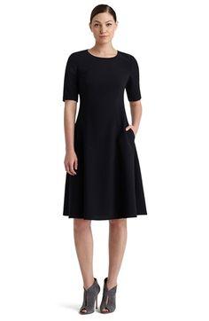 Lafayette 148 New York Elbow Sleeve MilanoKnitA-Line Dress available at #Nordstrom