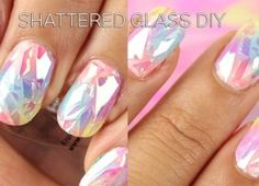 DIY Stunning Shattered Glass Nails Great how to instructions on you tube.