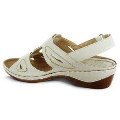Дамски ортопедични бели сандали на ниска платформа № 1519