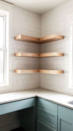 Custom #WheelwrightProject | exposed light wood laundry room shelves | matte hand carved square subway tile