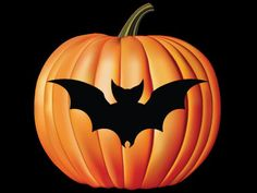 Simple Bat Pumpkin Carving Pattern (With images ... |Bats Boo Pumpkin Stencil