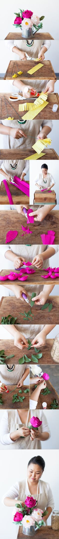 DIY Crepe Paper Peony Bouquet | www.FabArtDIY.com LIKE Us on Facebook ==> https://www.facebook.com/FabArtDIY