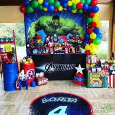 Check Out This Awesome Avengers Birthday Party See More regarding Superhero Birthday Party - Party Supplies Ideas Avengers Birthday Cakes, Hulk Birthday Parties, Birthday Party Images, Superman Birthday Party, Birthday Party Invitations, Avenger Birthday Party Ideas, Superhero Theme Party, 5th Birthday, Hulk Party