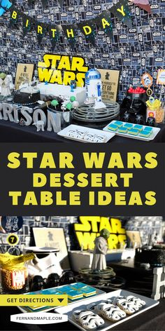 Get ideas for how to set up a fun Star Wars themed dessert table for a kid's or adult birthday party, a May the 4th party, or a Star Wars movie watching party! Get details now, and tons more Star Wars themed party ideas at fernandmaple.com.