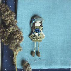 Купить Василиса. Брошь - брошь девочка, девушка, романтичная, брошь из полимерной глины, девочка в шляпке