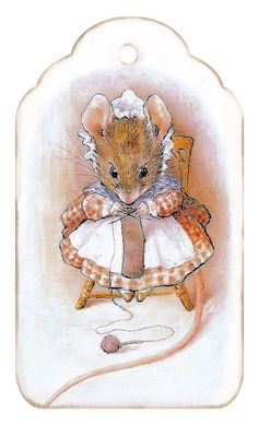Beatrix Potter label or tag of little mouse knitting. Brocante Brie