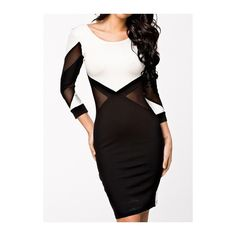 Rotita White and Black Long Sleeve Bodycon Dress (705 PHP) ❤ liked on Polyvore featuring dresses, color block, long sleeve dress, sheath dress, body con dress, long sleeve mini dress and colorblock sheath dress