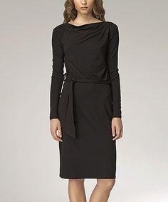 Another great find on #zulily! Black Drape Neck Dress #zulilyfinds