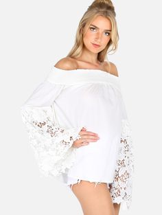 Online shopping for White Off The Shoulder Lace Embroidered Sleeve Blouse from a great selection of women's fashion clothing & more at MakeMeChic.COM.