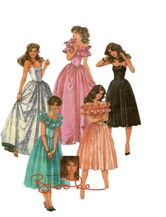 Vintage 80s DRESS PATTERN McCalls 8950 Brooke Shields Ball Gown Fit & Flare Dress at DesignRewindFashions Vintage to Modern Sewing Patterns