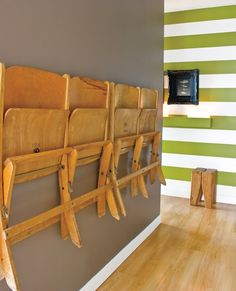 green striped walls