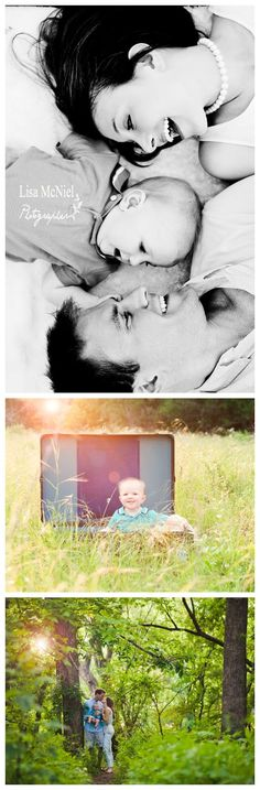 small family portraits, 6 six month pictures, field, sunflare, www.Lisa-Marie-Photography.com