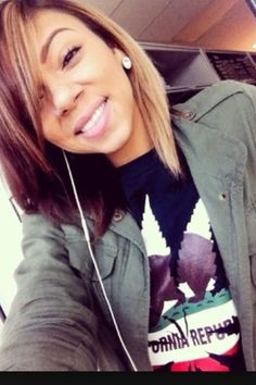 Hair color, hairstyle, bob, honey blonde and brown hair. Cute
