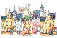 A4 Illustration Art Print rue douce 29 7 x par IsaBellabyMargriet