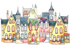 Sweet Street 21 x 30 cm Art Print van IsaBellabyMargriet op Etsy, €11,00